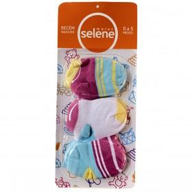 Kit C/3 pares de meias para recém nascido de menina Selene