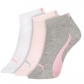 Kit com 3 meias feminina modelo cano curto Puma
