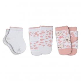 KIT com 3 pares de meias MENINA baby infantil cano curto Lupo