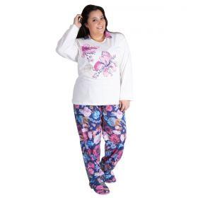 Pijama de inverno feminino plus size canelado Victory
