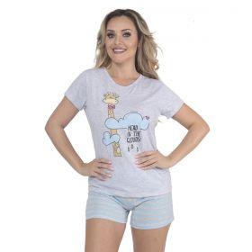Pijama de verão feminino com camiseta e short doll da Victory