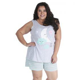 Pijama de verão feminino PLUS SIZE regata e short doll listrado da Victory