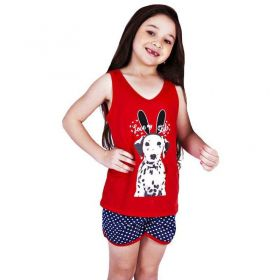 Pijama de Verão Infantil Regata e Short Doll Cachorrinho Victory