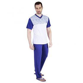 Pijama de Verão Masculino Calça e Camiseta Listras Victory
