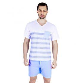 Pijama Verão Masculino Camiseta com Listras Algodão Bolso Victory