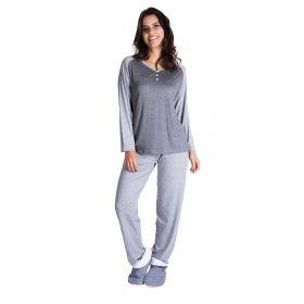 Pijama feminino de inverno com botões em viscolycra Victory
