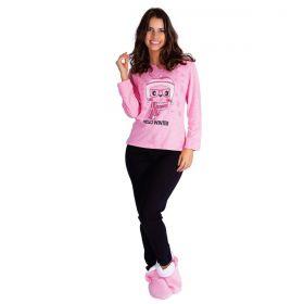 Pijama feminino de inverno estampado Victory