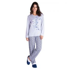 Pijama feminino estampado de inverno malha fria Victory