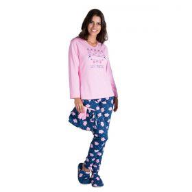 Pijama feminino estampado em tecido canelado de inverno Victory