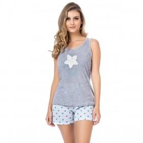 Pijama feminino para o verão bordado Victory