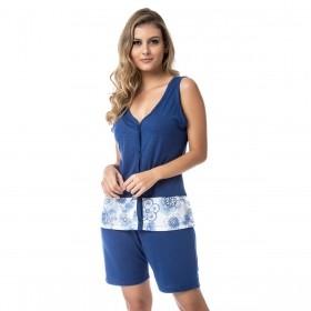 Pijama feminino para o verão com botões Victory
