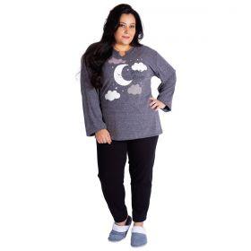 Pijama feminino plus size de inverno estampado Victory