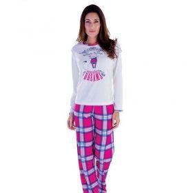 Pijama feminino plush inverno frio longo adulto Victory
