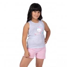 Pijama infantil de verão para menina com pompom Victory