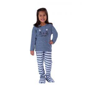 Pijama infantil estampado de inverno plush para menina Victory