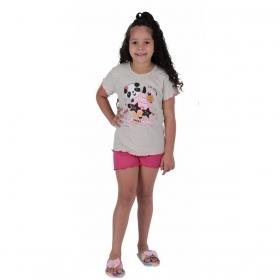Pijama infantil para menina de verão manga curta e short doll Victory