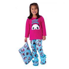 Pijama infantil para meninas estampado em tecido canelado de inverno Victory