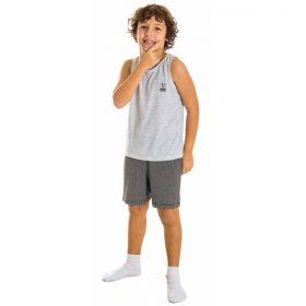 Pijama infantil para menino de verão regata e bermuda listrada