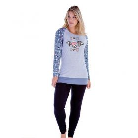 Pijama inverno frio longo adulto feminino viscolycra Victory