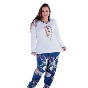 Pijama inverno frio longo feminino plus size Victory
