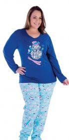 Pijama inverno frio longo malha fria adulto feminino plus size Victory