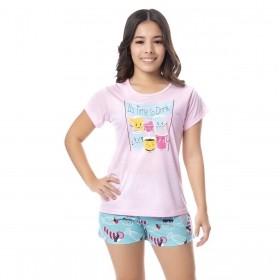 Pijama juvenil para menina de verão camiseta manga curta Victory