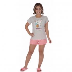 Pijama juvenil para menina de verão manga curta e short doll Victory