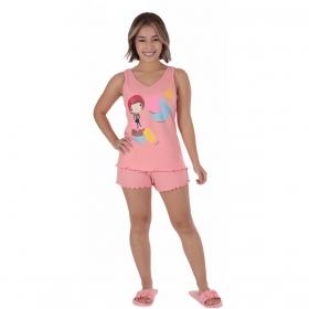 Pijama juvenil para menina de verão short doll regata Victory