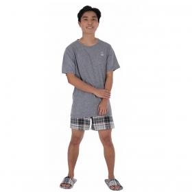 Pijama juvenil para menino de verão manga curta XADREZ Victory