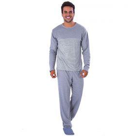 Pijama Longo de Inverno Masculino com Listras Victory