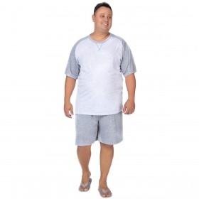 Pijama masculino plus size manga curta Victory