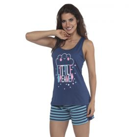 Pijama nadador listrado e short doll de verão feminino da Victory
