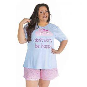 Pijama PLUS SIZE com camiseta e short doll de verão feminino da Victory