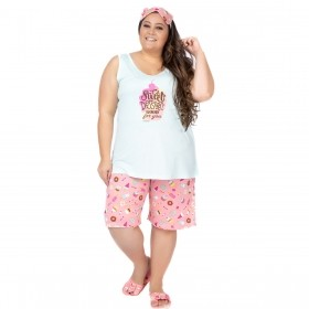 Pijama plus size feminino de verão bermudol Victory