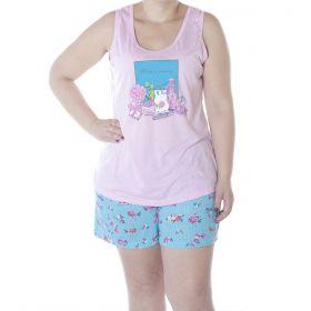 Pijama PLUS SIZE feminino de verão regata e bermuda estampados da Victory