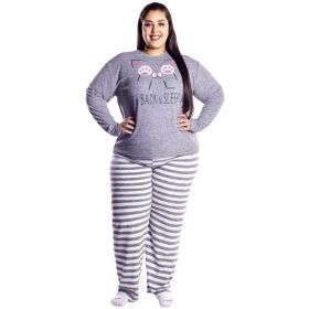 Pijama plus size feminino estampado de inverno plush Victory