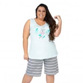 Pijama plus size feminino para o verão bermuda e regata Victory