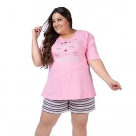 Pijama plus size feminino para o verão manga curta e short doll Victory