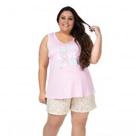 Pijama plus size feminino para o verão regata e short doll Victory