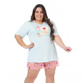 Pijama plus size feminino para o verão short doll manga curta Victory