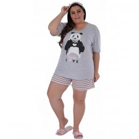 Pijama plus size verão short doll manga curta feminino Victory