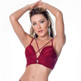 Sutiã cropped strappy bra bojo decote V Nayane Rodrigues