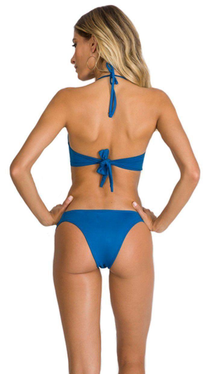 Biquíni bojo drapeado moda praia feminina Arsiè