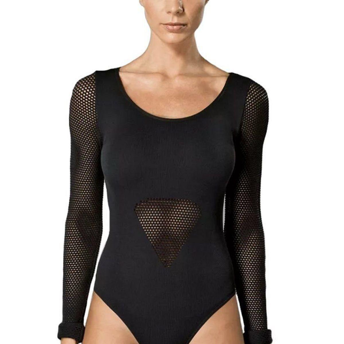 Body feminino modelo arrastão manga longa para academia Lupo 71643 .