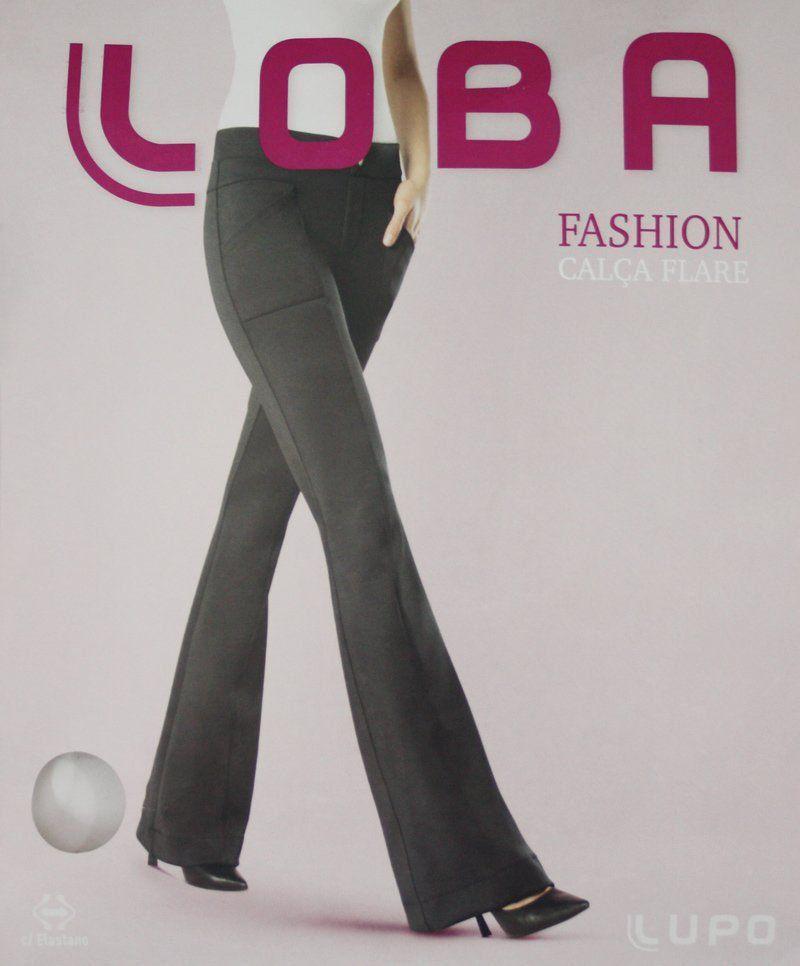 Calça feminina flare boca de sino com cós e bolso texturizada Loba Lupo 41871