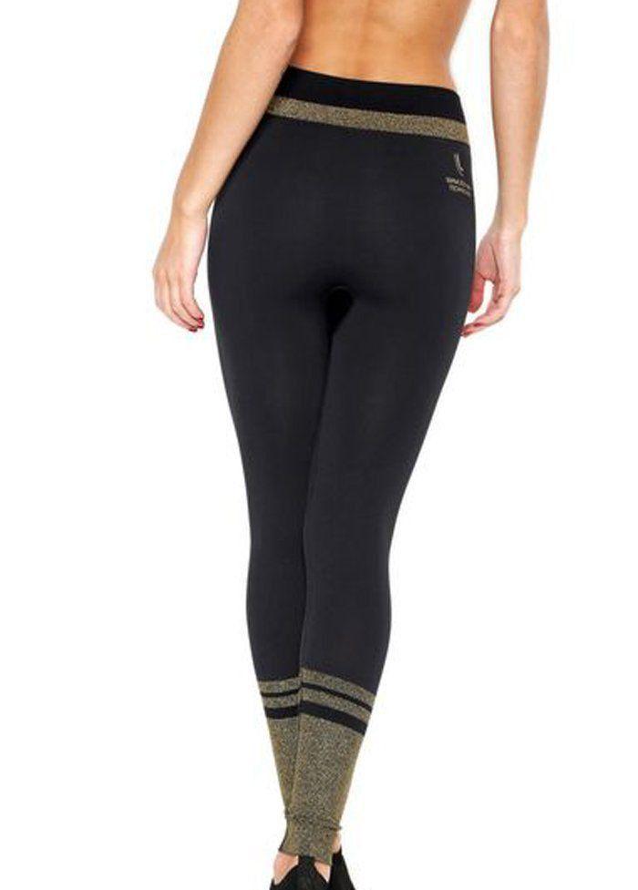 Calça legging feminina com brilho para academia fitness Lupo 71592 -