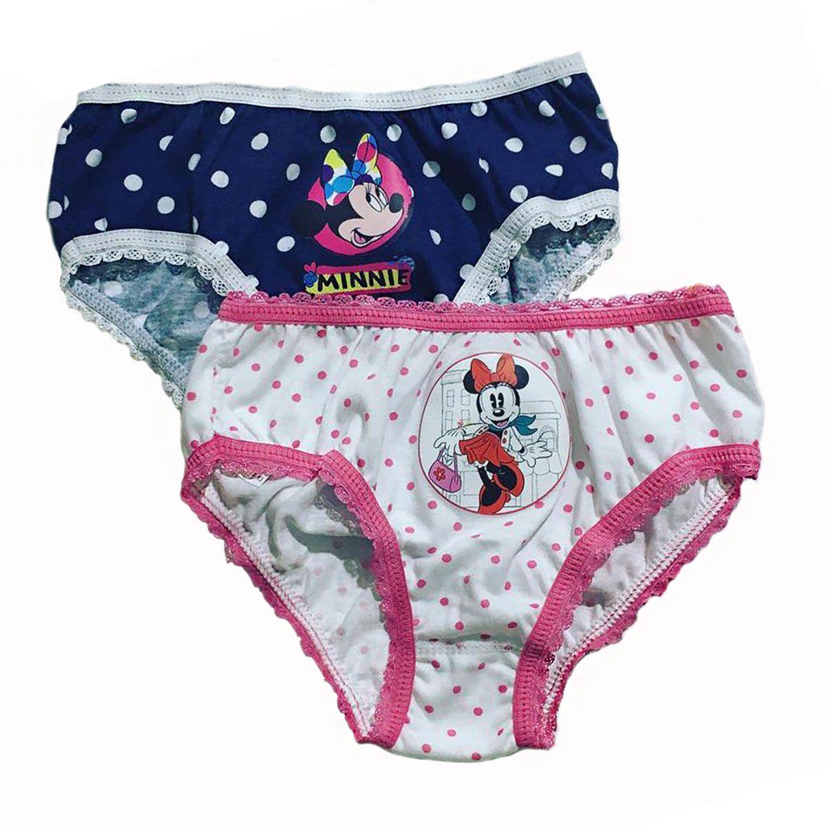 Calcinha infantil feminina algodão Kit com 2 estampada Minnie  Lupo