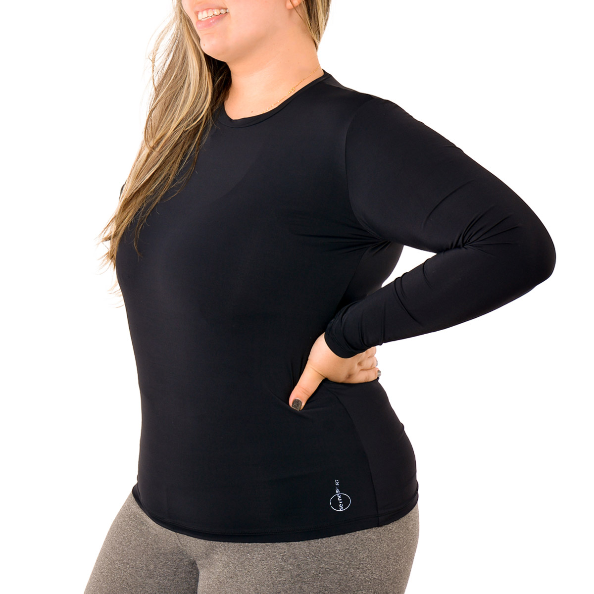 Camiseta plus size manga longa feminina com proteção UV Selene