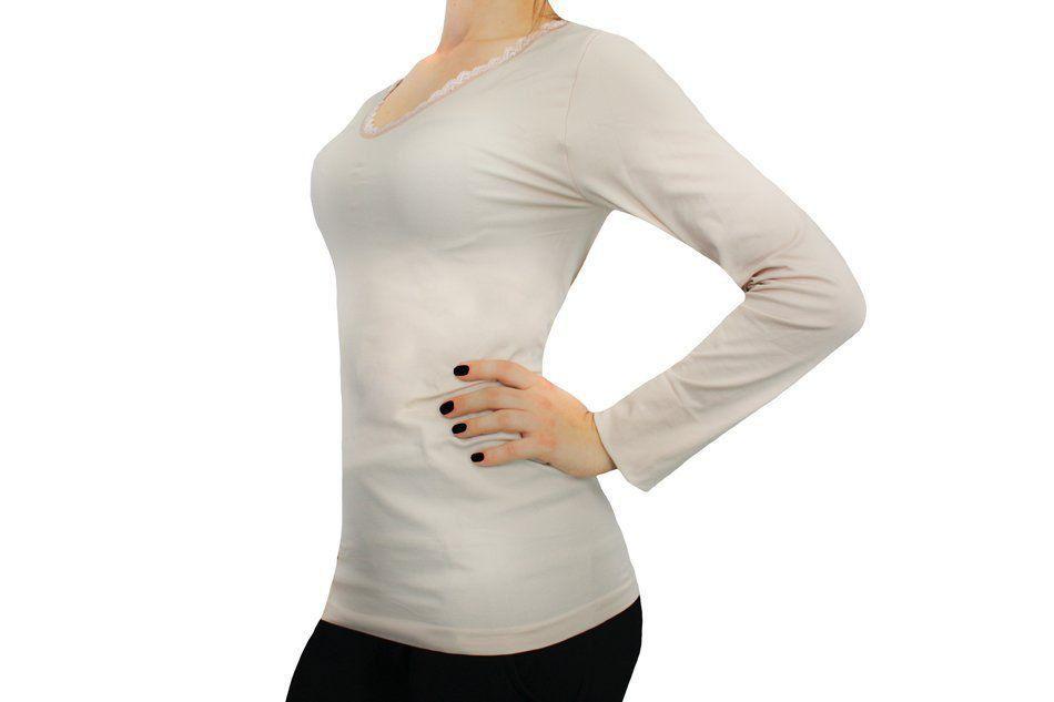 Camiseta Térmica Feminina Manga Longa Decote V Com Renda Trifil