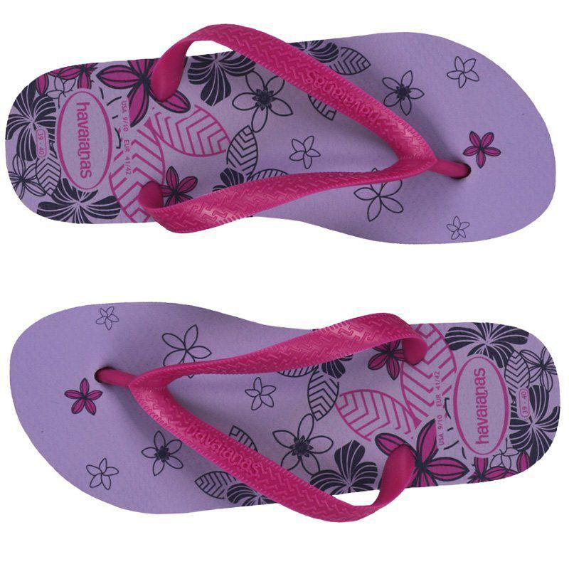Chinelo feminino tira larga estampado com flor Color silk Havaianas